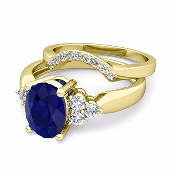 Three Stone Diamond and Sapphire Engagement Ring Bridal Set in 18k Gold, 8x6mm