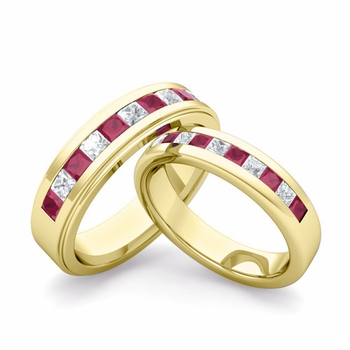 Matching Wedding Band in 18k Gold Princess Cut Diamond and Ruby Ring