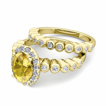 Halo Bridal Set: Bezel Diamond and Yellow Sapphire Wedding Ring Set in 18k Gold, 8x6mm