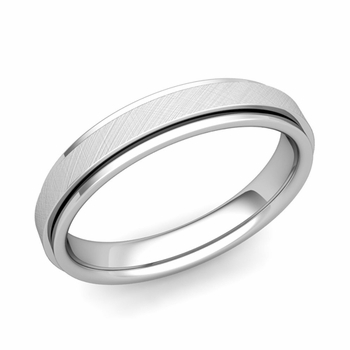 Park Avenue Wedding Band in 14k Gold Brushed Finish Comfort Fit Ring, 4mm