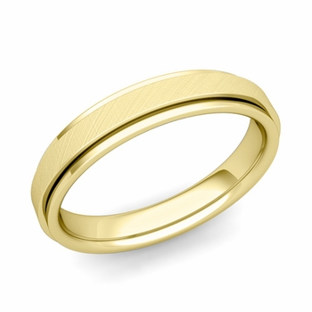 Park Avenue Wedding Band in 18k Gold Brushed Finish Comfort Fit Ring, 4mm