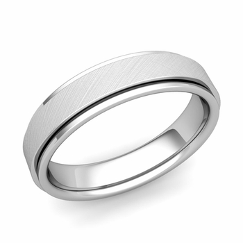 Park Avenue Wedding Band in 14k Gold Brushed Finish Comfort Fit Ring, 5mm