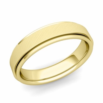 Park Avenue Wedding Band in 18k Gold Brushed Finish Comfort Fit Ring, 5mm