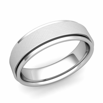 Park Avenue Wedding Band in 14k Gold Brushed Finish Comfort Fit Ring, 6mm