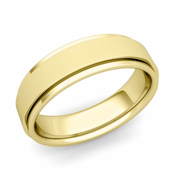 Park Avenue Wedding Band in 18k Gold Brushed Finish Comfort Fit Ring, 6mm