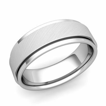 Park Avenue Wedding Band in 14k Gold Brushed Finish Comfort Fit Ring, 7mm