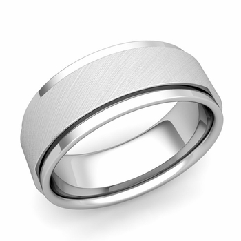 Park Avenue Wedding Band in 14k Gold Brushed Finish Comfort Fit Ring, 8mm