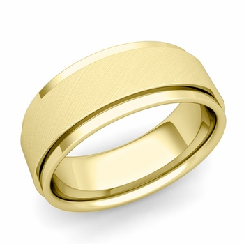 Park Avenue Wedding Band in 18k Gold Brushed Finish Comfort Fit Ring, 8mm