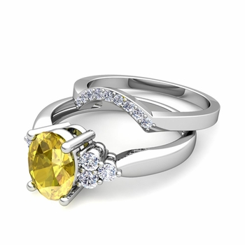 Three Stone Diamond and Yellow Sapphire Engagement Ring Bridal Set in Platinum, 7x5mm