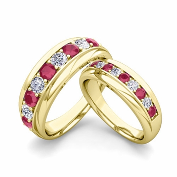 Matching Wedding Band in 18k Gold Brilliant Diamond and Ruby Wedding Rings