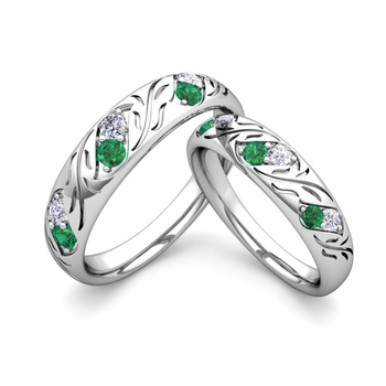 His and Hers Matching Wedding Band in Platinum: Diamond and Emerald