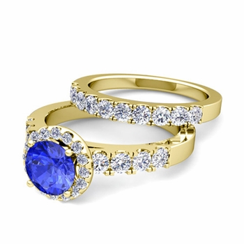 Halo Bridal Set: Pave Diamond and Ceylon Sapphire Wedding Ring Set in 18k Gold, 7mm