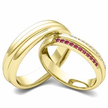 Matching Wedding Band in 18k Gold Pave Diamond and Ruby Ring