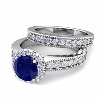 Halo Bridal Set: Milgrain Diamond and Sapphire Engagement Wedding Ring Set in 14k Gold, 7mm