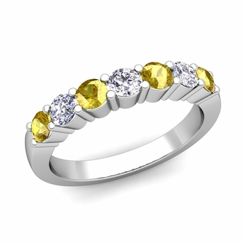 7 Stone Diamond and Yellow Sapphire Wedding Ring in Platinum