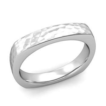 Square Comfort Fit Wedding Ring in Platinum Matte Hammered Band, 4mm