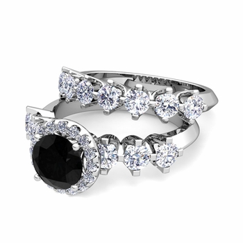 Bridal Set of Crown Set Black and White Diamond Engagement Wedding Ring in Platinum, 7mm