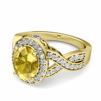 Infinity Diamond and Yellow Sapphire Engagement Ring in 18k Gold, 9x7mm