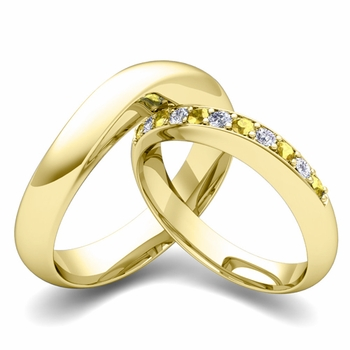 Matching Wedding Band in 18k Gold Curved Diamond and Yellow Sapphire Ring