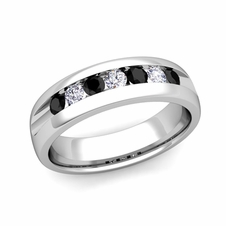 Channel Set Black and White Diamond Mens Wedding Band in 14k Gold, 6mm