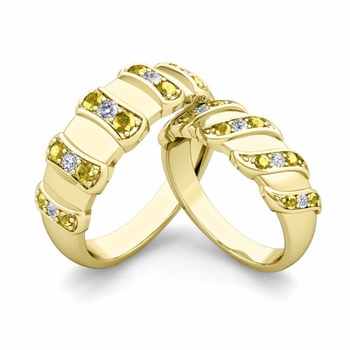 Matching Wedding Band in 18k Gold Twisted Diamond Yellow Sapphire Wedding Rings