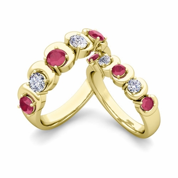 His and Hers Matching Wedding Band in 18k Gold 5 Stone Diamond and Ruby Ring