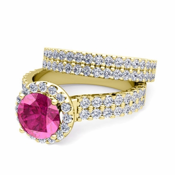 Two Row Diamond and Pink Sapphire Engagement Ring Bridal Set in 18k Gold, 7mm