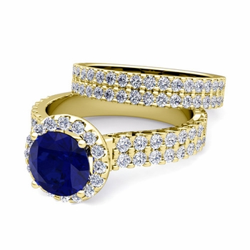 Two Row Diamond and Sapphire Engagement Ring Bridal Set in 18k Gold, 7mm