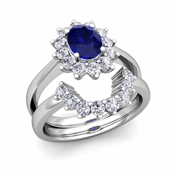 Diamond and Sapphire Diana Engagement Ring Bridal Set in Platinum, 7x5mm