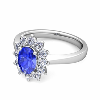 Brilliant Diamond and Ceylon Sapphire Diana Engagement Ring in Platinum, 9x7mm