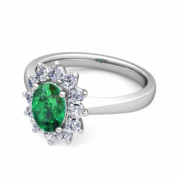 Brilliant Diamond and Emerald Diana Engagement Ring in Platinum, 7x5mm