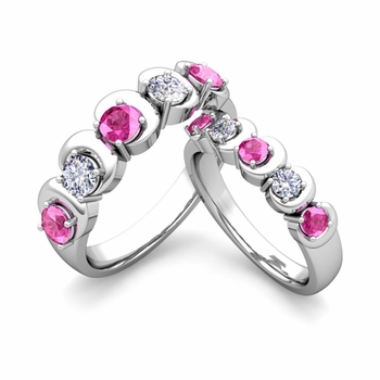 His and Hers Matching Wedding Band in 14k Gold 5 Stone Diamond and Pink Sapphire Ring