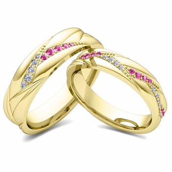 Matching Wave Wedding Band in 18k Gold Pink Sapphire and Diamond Ring