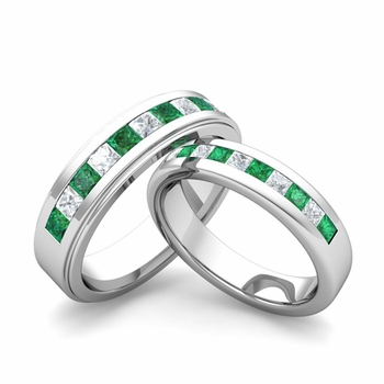 Matching Wedding Band in Platinum Princess Cut Diamond and Emerald Ring