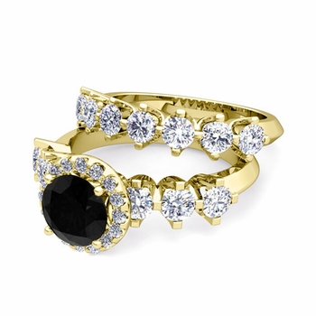 Bridal Set of Crown Set Black and White Diamond Engagement Wedding Ring in 18k Gold, 7mm
