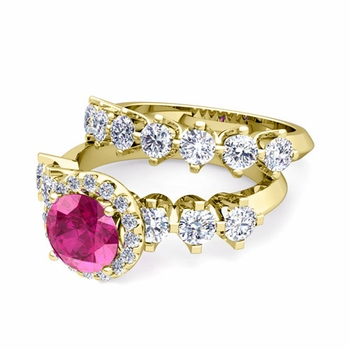 Bridal Set of Crown Set Diamond and Pink Sapphire Engagement Wedding Ring in 18k Gold, 7mm