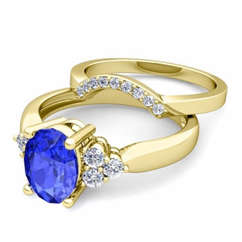 Three Stone Diamond and Ceylon Sapphire Engagement Ring Bridal Set in 18k Gold, 7x5mm