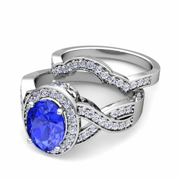 Infinity Diamond and Ceylon Sapphire Engagement Ring Bridal Set in 14k Gold, 7x5mm
