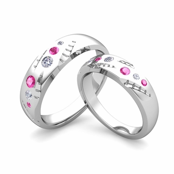 Matching Wedding Ring Set: Flush Set Diamond and Pink Sapphire Ring in Platinum