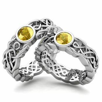 Matching Wedding Band in Platinum Solitaire Yellow Sapphire Ring