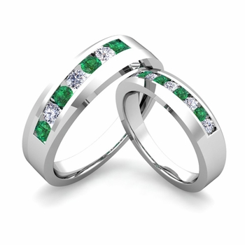 His and Hers Matching Wedding Band in Platinum Channel Set Diamond and Emerald Ring