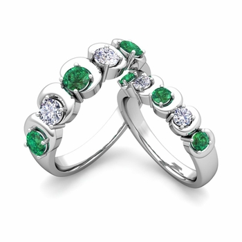 His and Hers Matching Wedding Band in Platinum 5 Stone Diamond and Emerald Ring