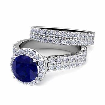 Two Row Diamond and Sapphire Engagement Ring Bridal Set in 14k Gold, 7mm