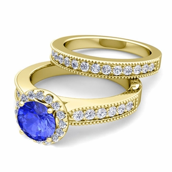 Halo Bridal Set: Milgrain Diamond and Ceylon Sapphire Wedding Ring Set in 18k Gold, 7mm