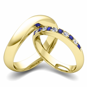 Matching Wedding Band in 18k Gold Curved Diamond and Sapphire Ring