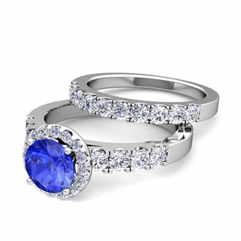 Halo Bridal Set: Pave Diamond and Ceylon Sapphire Wedding Ring Set in Platinum, 7mm