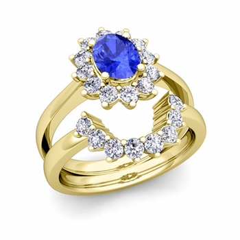 Diamond and Ceylon Sapphire Diana Engagement Ring Bridal Set in 18k Gold, 7x5mm