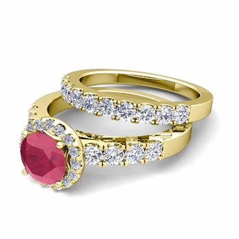 Halo Bridal Set: Pave Diamond and Ruby Wedding Ring Set in 18k Gold, 6mm