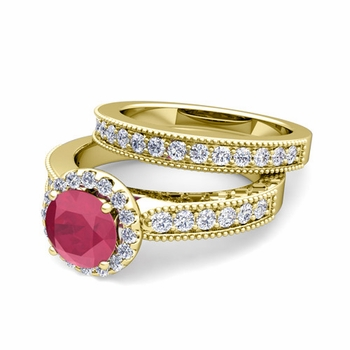 Halo Bridal Set: Milgrain Diamond and Ruby Engagement Wedding Ring Set in 18k Gold, 5mm