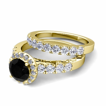Halo Bridal Set: Pave Black and White Diamond Engagement Wedding Ring in 18k Gold, 7mm